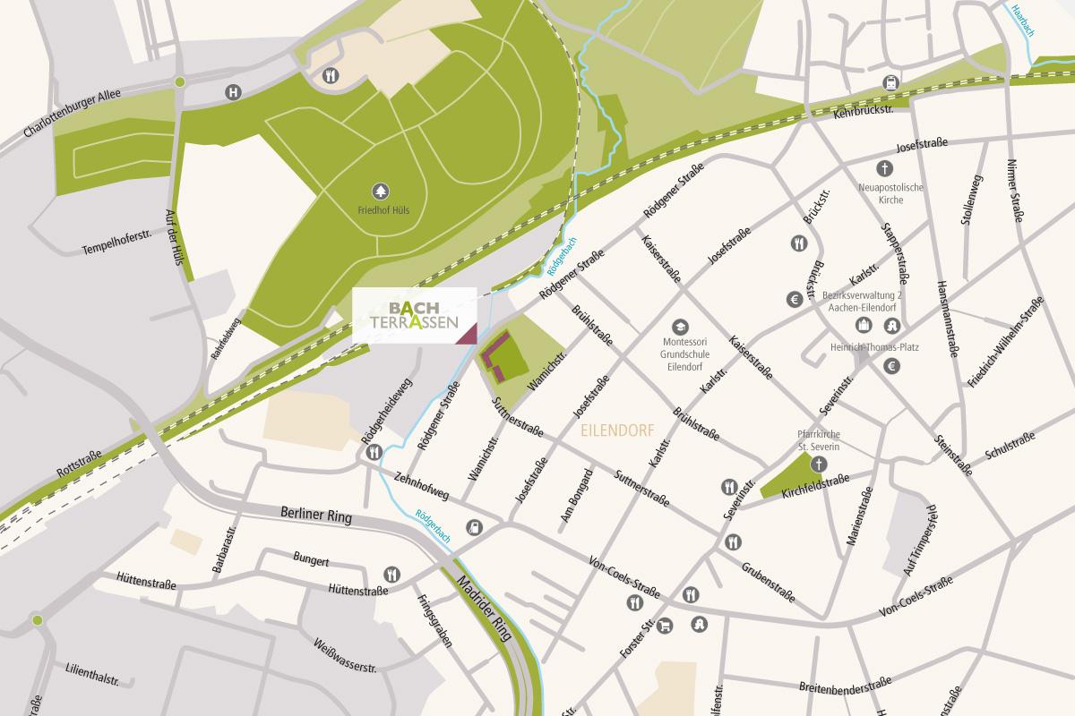 Aachen Karte Stadtteile.Stadtplan Bachterrassen Bach Terrassen